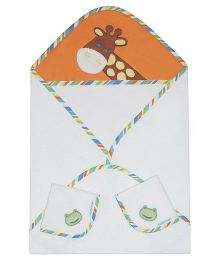 Abracadabra Cotton Terry Hooded Towel With 2 Face Napkins - White Orange