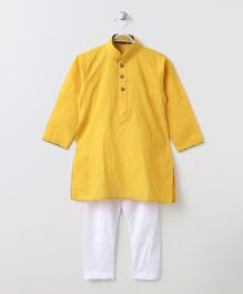 Enfance Half Button Closure Kurta Pyajama Set - Yellow