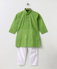 Enfance Half Button Closure Kurta Pyajama Set - Green