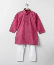 Enfance Half Button Closure Kurta Pyajama Set - Dark Pink