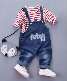 Pre Order - Awabox Striped Tee And Onesie Set - Red