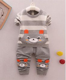 Pre Order - Awabox Teddy Design Tee And Pant Set - Gray