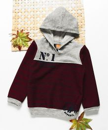 Little Kangaroos Full Sleeves Hooded Sweatshirt - Grey Maroon