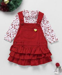 Little Kangaroos Corduroy Frock With Full Sleeve Inner Top - White Red