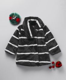 Little Kangaroos Full Sleeves Jacket Stripes Design - Black