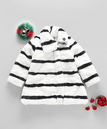 Little Kangaroos Full Sleeves Jacket Stripes Design - White