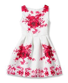 Pre Order - Awabox Floral Printed Dress - Red