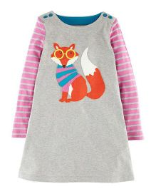 Pre Order - Awabox Fox Print Dress - Gray