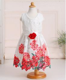Pre Order - Awabox Floral Design Lace Dress - White & Pink
