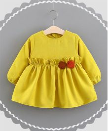 Superfie Dress With Small Flower On The Waist - Yellow