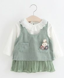 Superfie Doll Patch Dress With Inner - Green