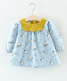 Superfie Bird Printed Dress - Light Blue