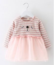 Pre Order - Superfie Doggy Printed Stripes Dress - Pink
