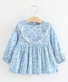 Pre Order - Superfie Leaves Print Casual Dress - Light Blue