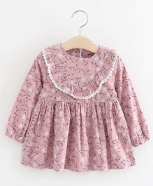 Pre Order - Superfie Leaves Print Casual Dress - Mauve