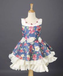 Enfance Floral Print Frilly Dress - Blue