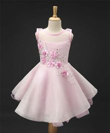Enfance Elegant Flower Applique Party Wear Dress - Pink