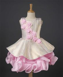 Enfance Flower Applique Frilly Party Wear Dress - Pink