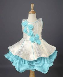 Enfance Flower Applique Frilly Party Wear Dress - Blue