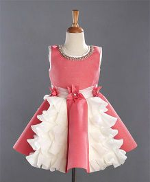 Enfance Sleeveless Party Wear Dress - Peach