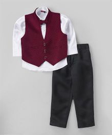 Babyhug 3 Piece Party Suit With Bow - Maroon Black White