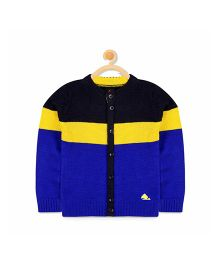 Cherry Crumble California Button Front Colorblock Cardigan - Blue & Black