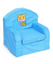 Lovely Sofa Chair Kitten Embroidery - Blue