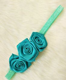 Magic Needles Headband With Multiple Flowers - Green