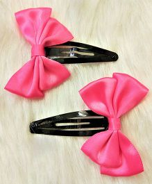 Magic Needles Tictac Clips With Double Bow Set Of 2 - Pink