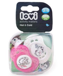 Lovi Dynamic Hot And Cold Silicone Soother Animal Print Pack Of 2 - Pink & White
