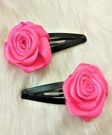 Magic Needles Tictac Clips With English Rose Set Of 2 - Dark Pink