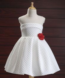 Babyhug Party Wear Sleeveless Pleated Frock Floral Appliques - White