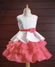 Babyhug Sleeveless Party Wear Layer Frock Flower Applique - White Pink