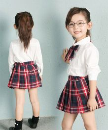 Pre Order - Awabox Shirt With Checked Bow & Skirt - White