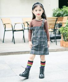 Pre Order - Awabox Inner Top With Plaid Dress - Coffee