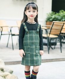 Pre Order - Awabox Inner Top With Plaid Dress - Green