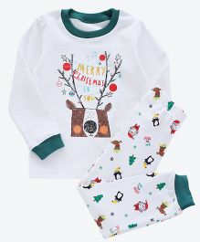 Pre Order - Awabox Christmas Print Night Suit - White