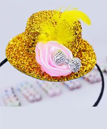 Little Tresses Partywear Hat With Feather Hairband - Golden