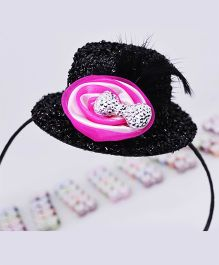 Little Tresses Partywear Hat With Feather Hairband - Black