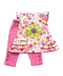 Dazzling Dolls Embroidered Printed Tunic Set With Leggings - Pink