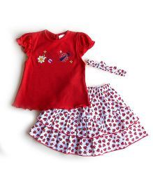 Dazzling Dolls Embroidered Lady Bird 3 Piece Skirt Set With Hairband - Red