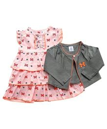 Dazzling Dolls Butterfly Print Dress Set With Long Sleeve Butterfly Shrug - Gray