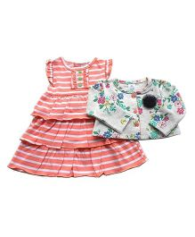 Dazzling Dolls Striped Layered Dress Set With Long Sleeve Floral Shrug - Multicolor