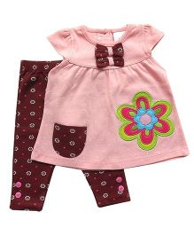 Dazzling Dolls Polka Dot Tunic Set With Printed Leggings - Peach
