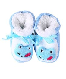 Dazzling Dolls Super Soft Winter Fuzzy Baby Booties - Blue