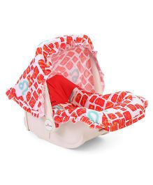 1st Step Rear Facing Car Seat Cum Carry Cot Bear Print - White Red