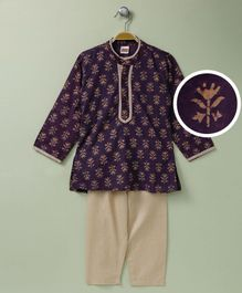 Babyhug Full Sleeves Printed Kurta And Pajama - Dark Violet Cream