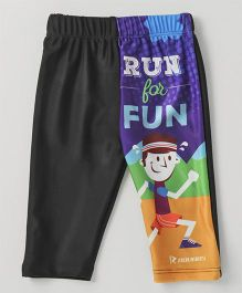 Rovars Three Fourth Swimming Trunks Run For Fun Print - Black & Multicolor