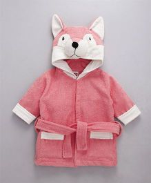 Babyhug Full Sleeves 3D Hooded Bathrobe - Light Coral