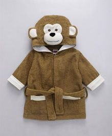 Babyhug Full Sleeves 3D Hooded Bathrobe Monkey Design - Brown